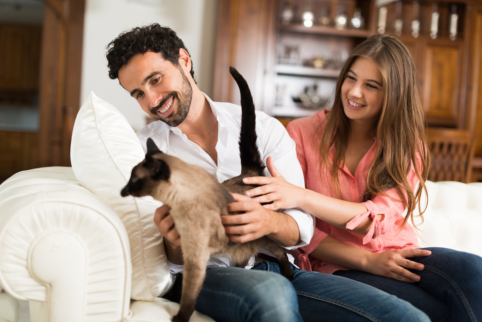 Couple playing with their cat at home